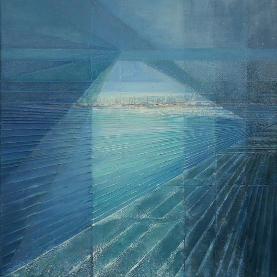 Symphony in blue – 100x 100 cm, akryl/olej na płótnie