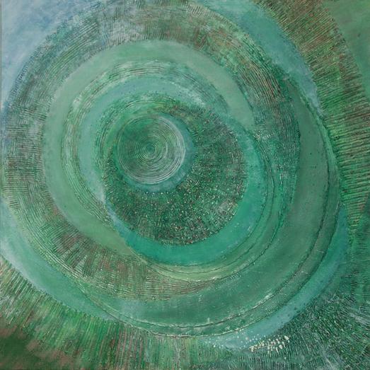 Szmaragdowa wyspa II – 70x 70 cm, akryl/olej na płótnie