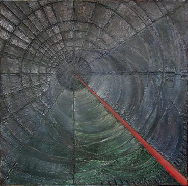 Szmaragdowa wyspa – 70x 70 cm, akryl/olej na płótnie