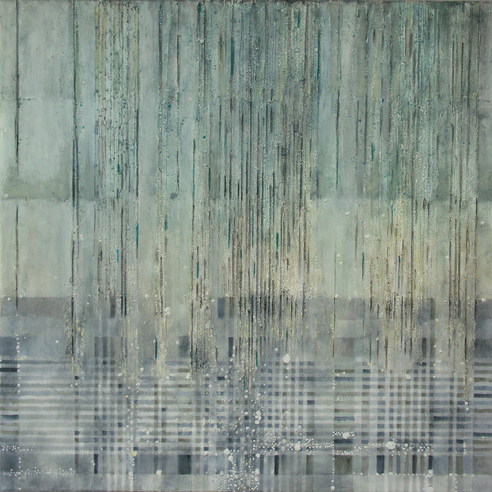 Es piove – 100x100 cm, akryl/olej na płótnie