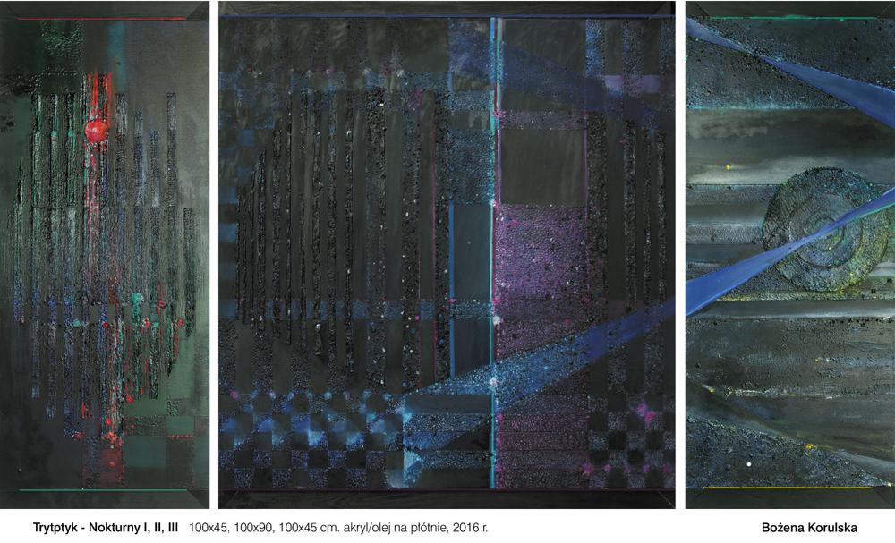 Tryptyk Nokturny I, II, III – 100x45, 100x90, 100x45 cm, akryl/olej na płótnie